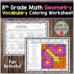 Color by Number Geometry Worksheets