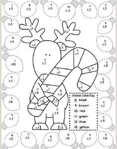 Color by Number Math Worksheets Christmas