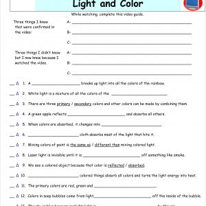 Color by Number Science Worksheets
