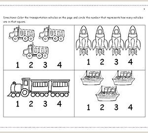 Color by Number Transportation Worksheets