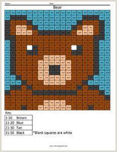 Color by Number Worksheets 1st Grade