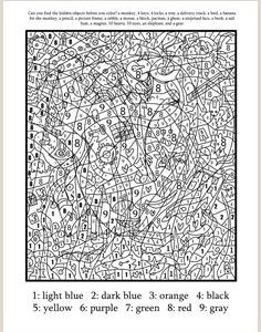Color by Number Worksheets Advanced