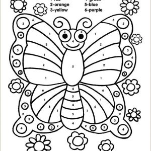 Color by Number Worksheets butterfly