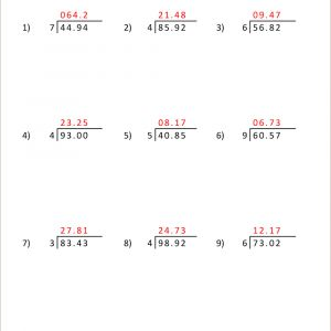 Color by Number Worksheets Division