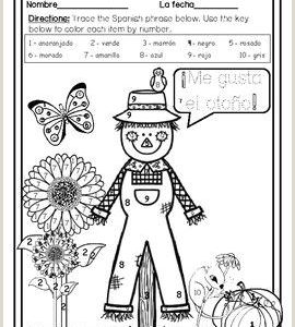Color by Number Worksheets for Fall
