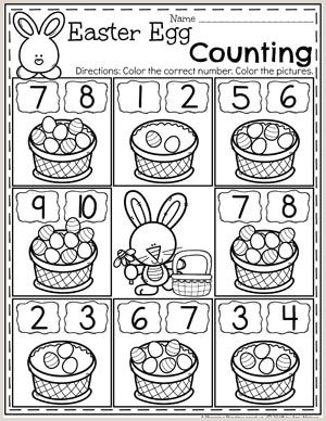 Color by Number Worksheets for Kindergarten Easter