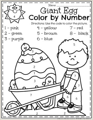 Color by Number Worksheets for Kindergarten Easter