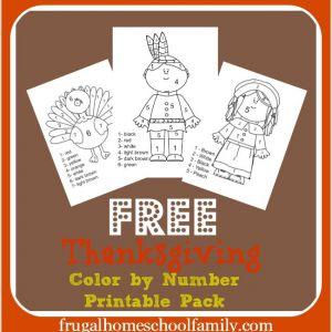 Color by Number Worksheets for Kindergarten Thanksgiving