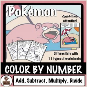 Color by Number Worksheets Pokemon