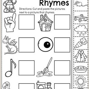 Cut and Paste Reading Worksheets for Kindergarten