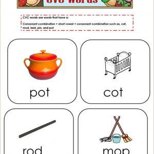 Cvc Reading Worksheets for Kindergarten