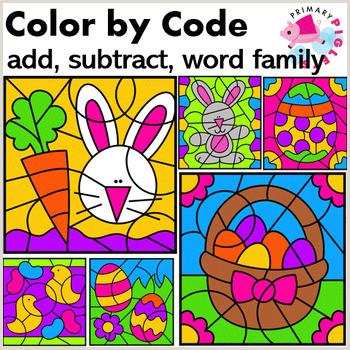 Easter Addition and Subtraction Worksheets for Kindergarten