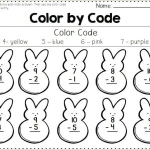 Easter Addition and Subtraction Worksheets for Kindergarten