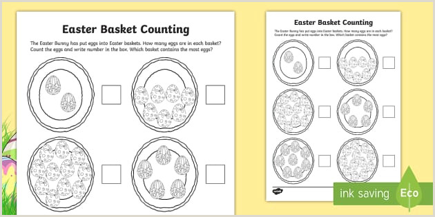 Easter Basket Worksheets Preschool