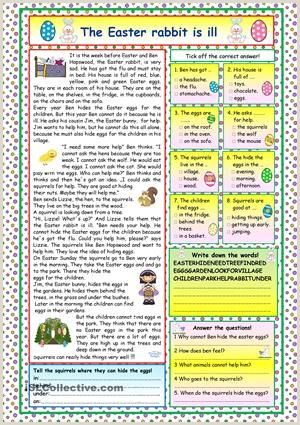 Easter Bunny Comprehension Worksheet