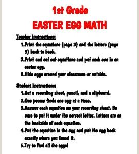 Easter Comprehension Worksheets for 1st Grade