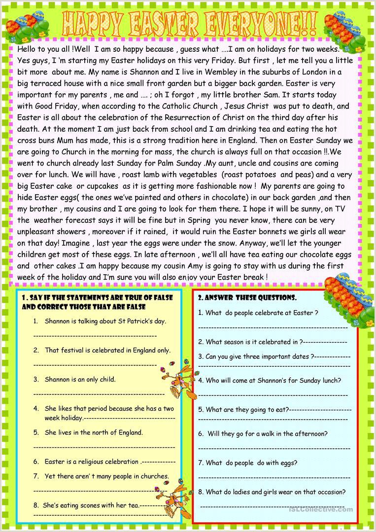 Easter Comprehension Worksheets For 1st Grade