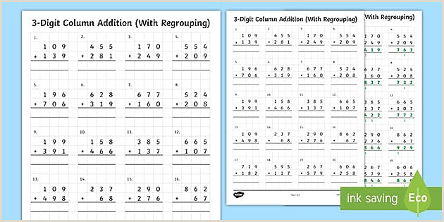 Easter Double Digit Addition Worksheets