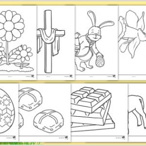 Easter Maths Colouring Worksheets