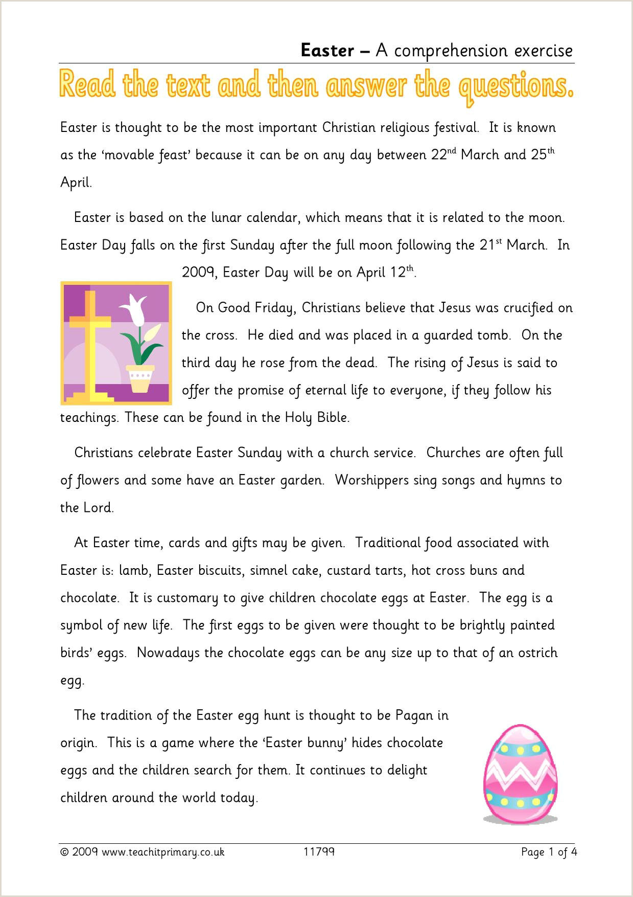 Easter Worksheets For Juniors