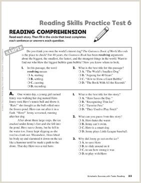 Free Kindergarten Reading Comprehension Worksheet