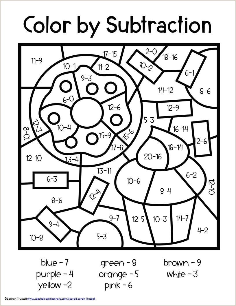 Integer Color By Number Worksheets