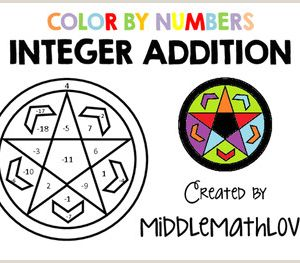 Integer Color by Number Worksheets