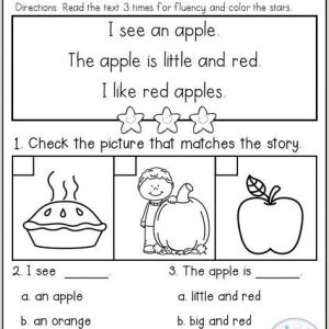 Kindergarten Reading Comprehension Worksheets Multiple Choice