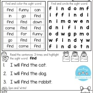 Kindergarten Reading Practice Worksheets