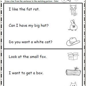Kindergarten Reading Sentences Worksheets