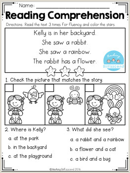 Reading Comprehension Kindergarten Kindergarten Worksheets