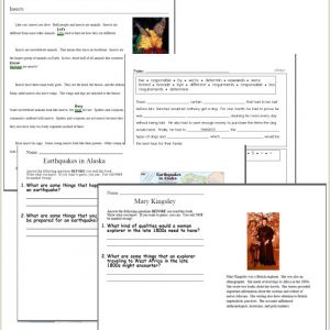 Reading Comprehension Kindergarten Worksheets