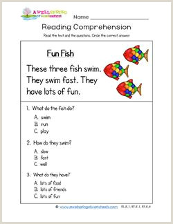 Reading Comprehension Worksheets Pdf for Kindergarten