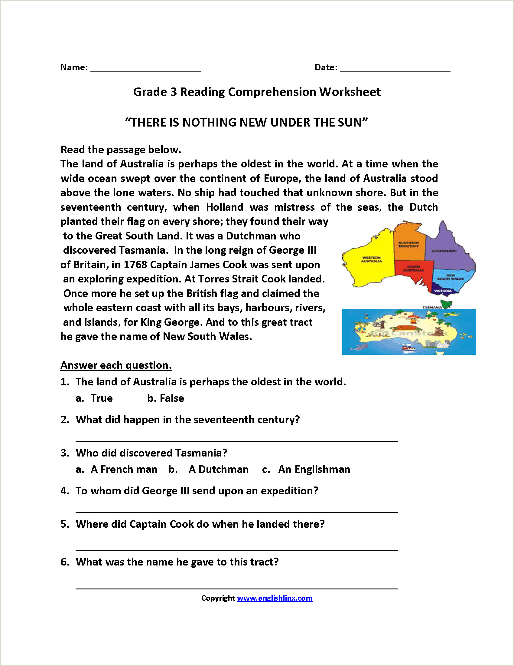 Reading Worksheet For Kindergarten