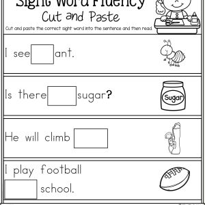 Reading Worksheet for Kindergarten