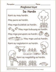 Reading Worksheets for Kindergarten Tagalog