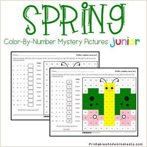 Spring Color by Number Addition Worksheets