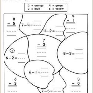 Subtraction Color by Number Worksheets for Kindergarten