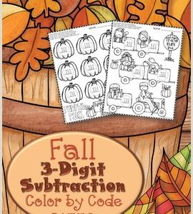 Subtraction with Regrouping Color by Number Worksheets
