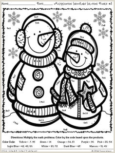 Winter Addition Color By Number Worksheets