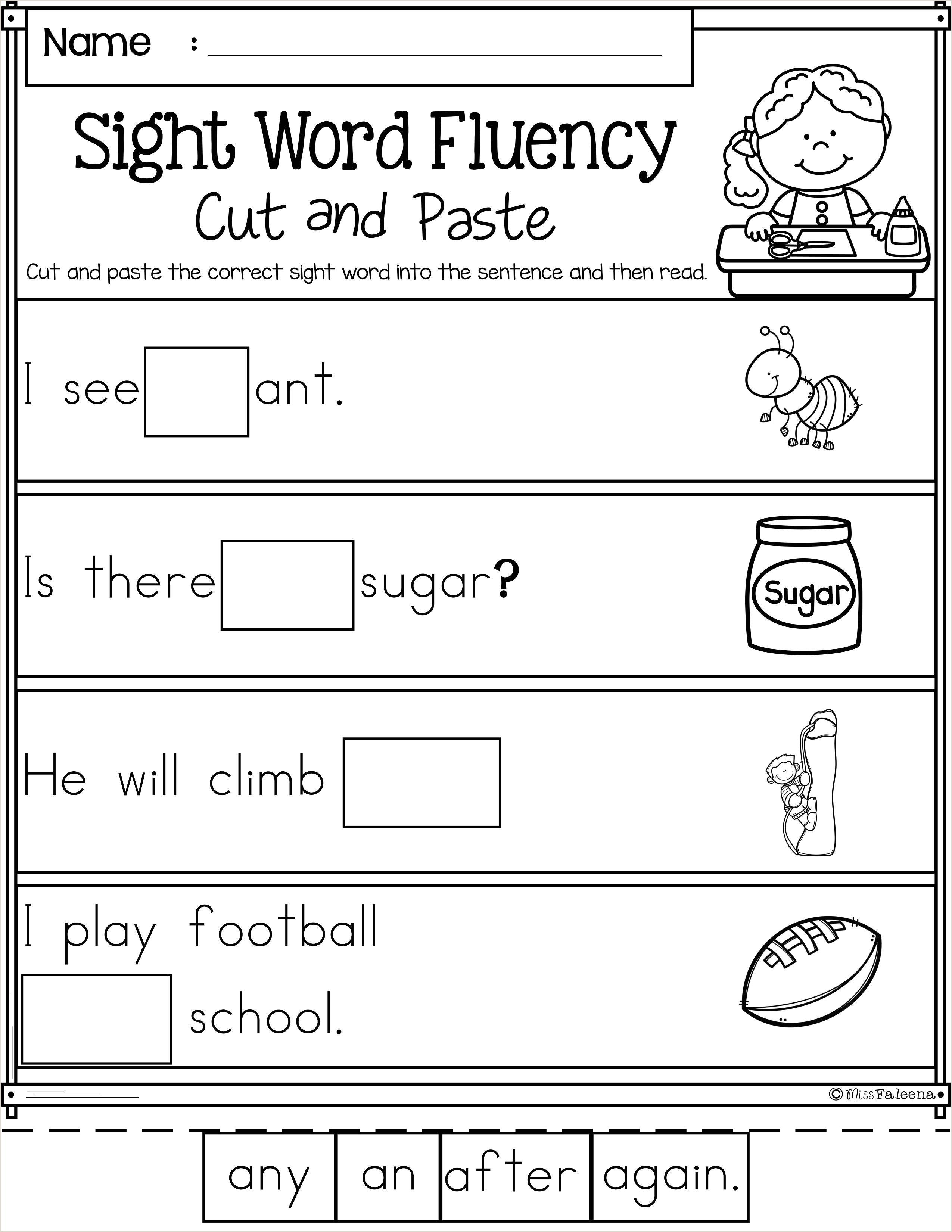 Worksheet For Kindergarten Reading