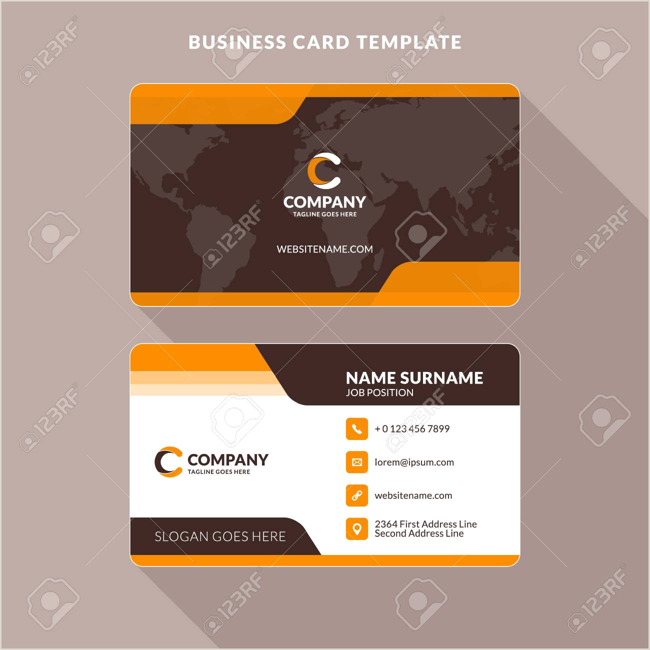 2 Color Business Cards Creative And Clean Double Sided Business Card Template Orange