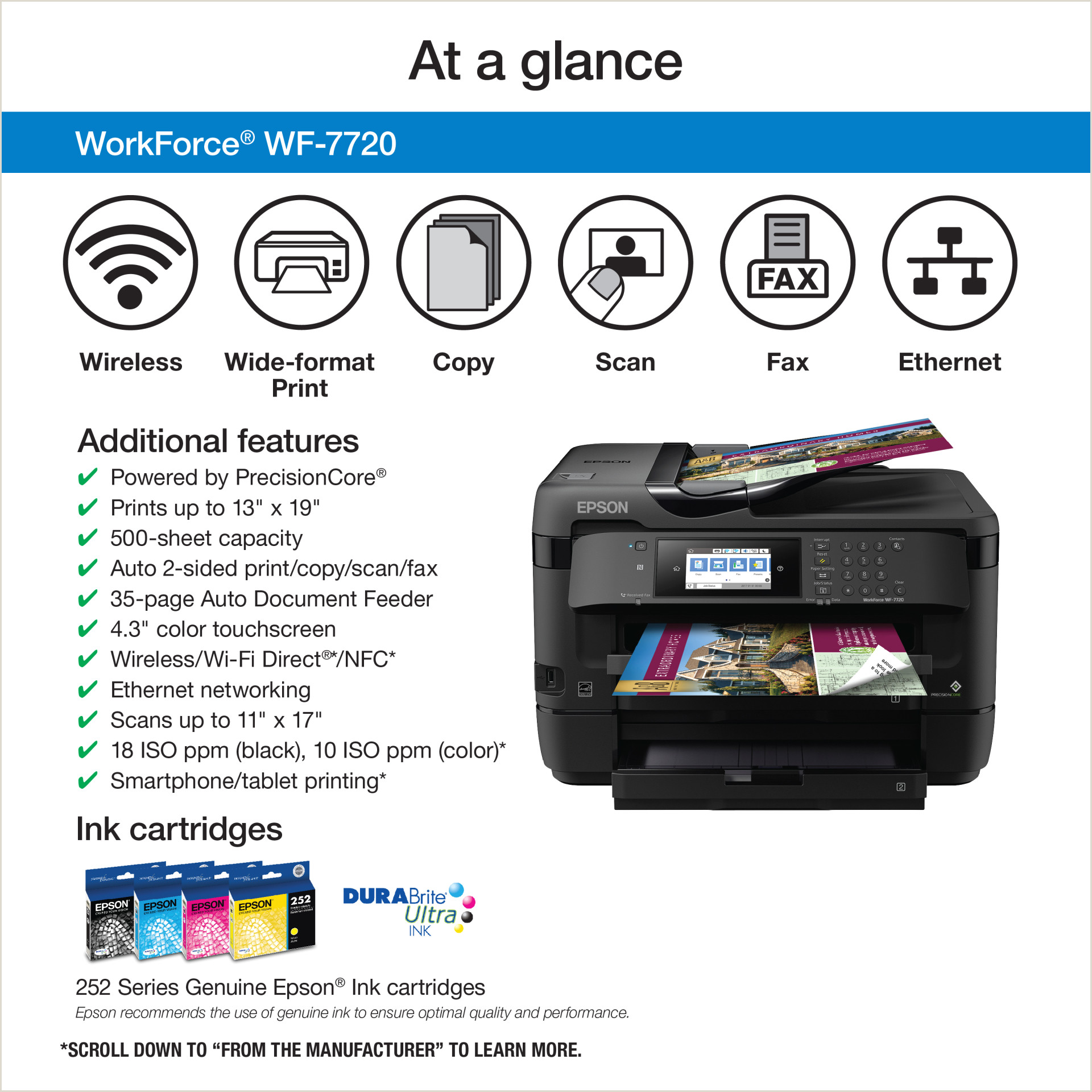 2 Color Business Cards Epson Workforce Wf 7720 19 Wide Format Wireless Inkjet All