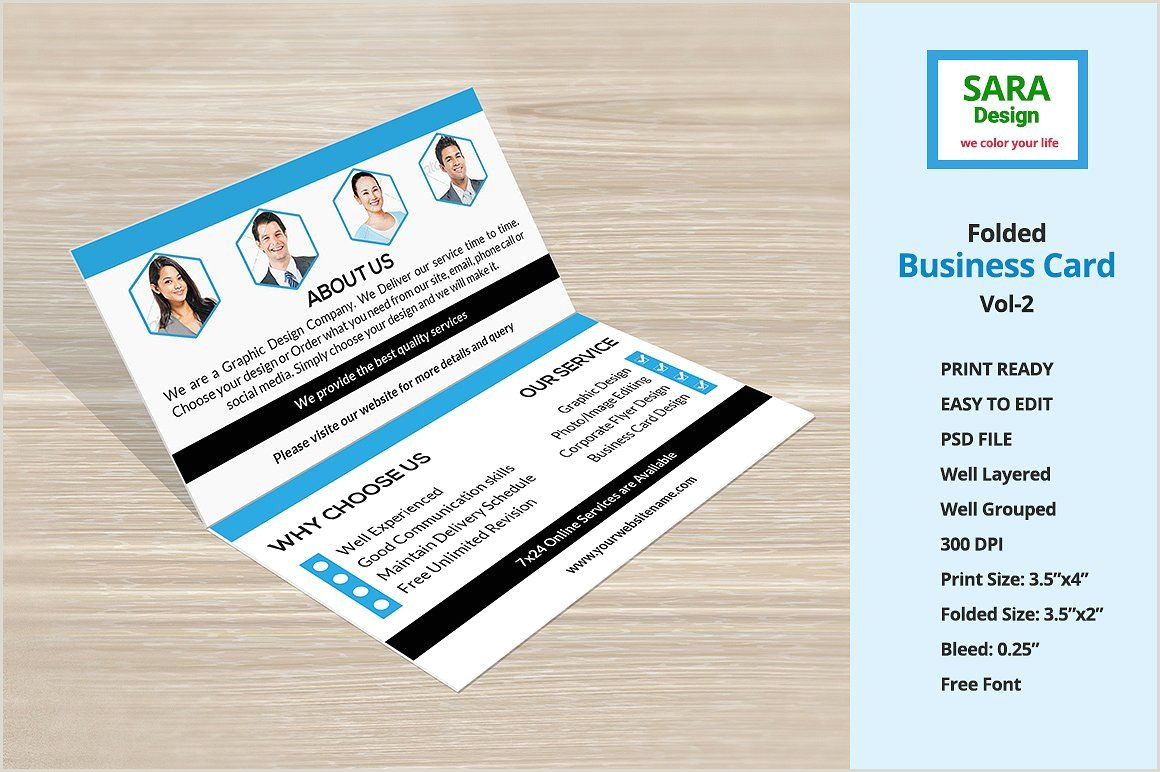 2 Color Business Cards Folded Business Card Vol 2