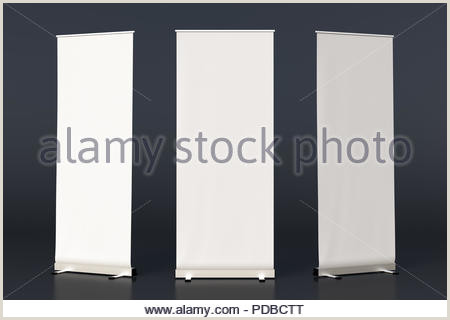 3 Sided Banner Stand Three Black Blank Roll Up Banner Stands Isolated On Black