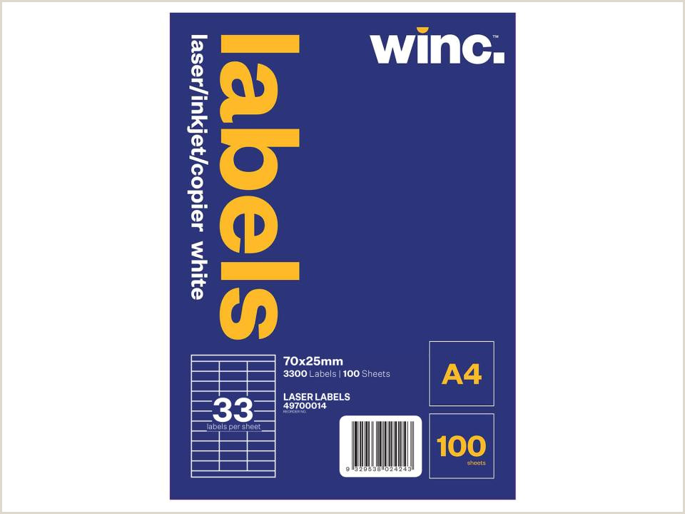 33 Up Labels Template Winc Laser Labels 70 X 25mm 33 Per Sheet Pack Of 100 Sheets