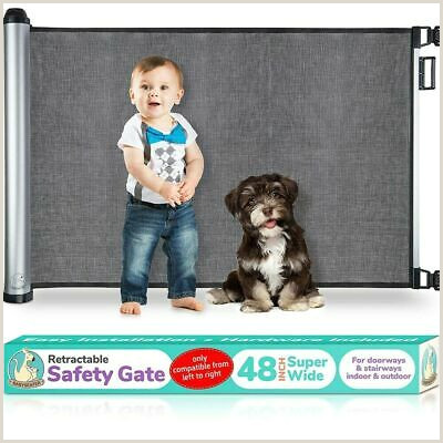 6ft Retractable Baby Gate Baby Safety Gate Retractable Door Extra Wide Child Pet Safety Stairs Gate
