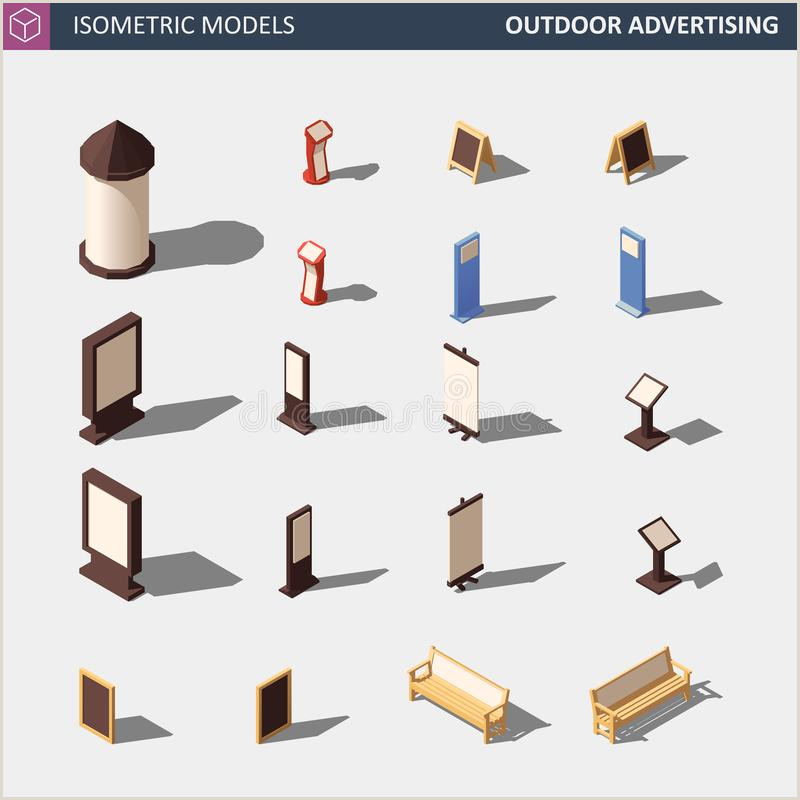 Advertising Stands Outdoor Set Outdoor Lightbox Advertising Stand Stock Illustration