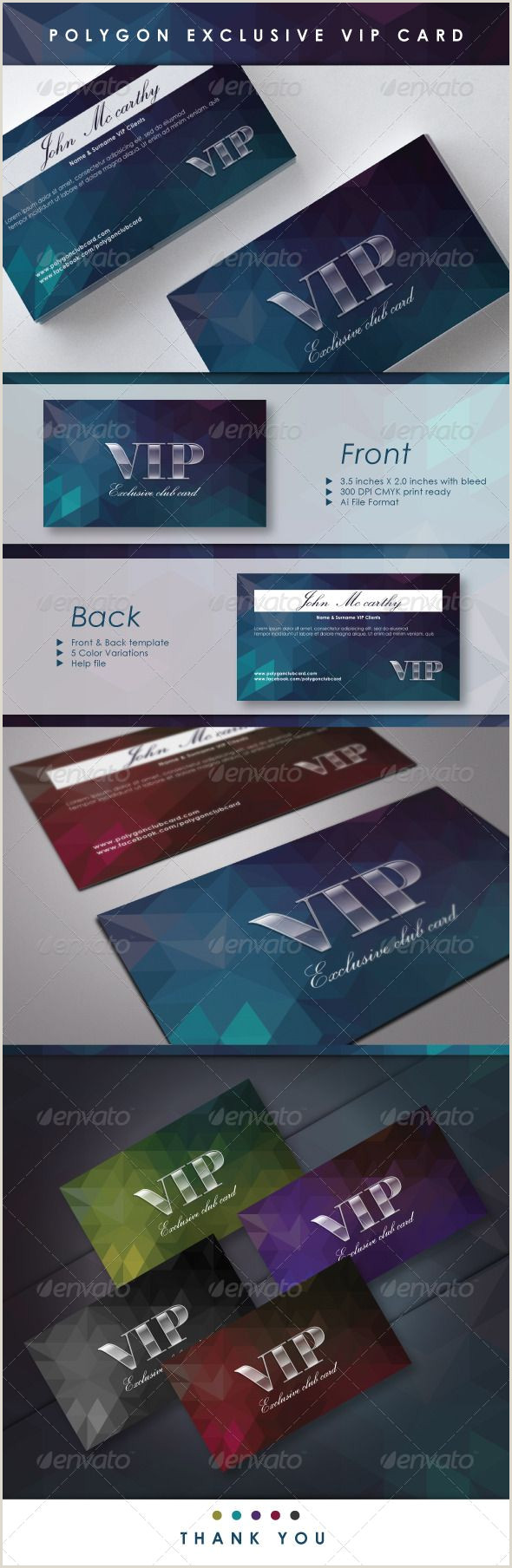 Back Of Business Card Ideas Polygon Exclusive Vip Card Graphicriver