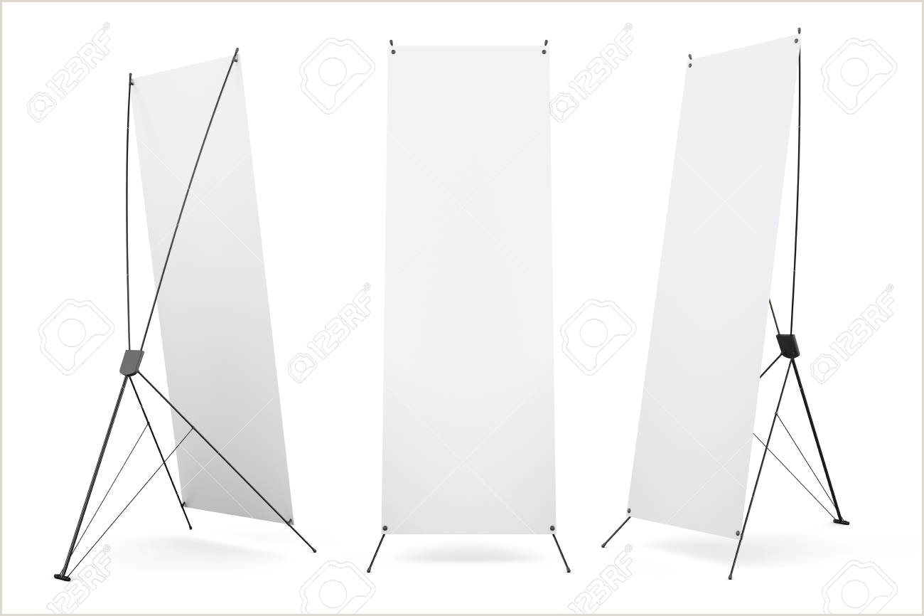 Banner Frame Stand Set Of Blank Banner X Stands Display Isolated On White Background